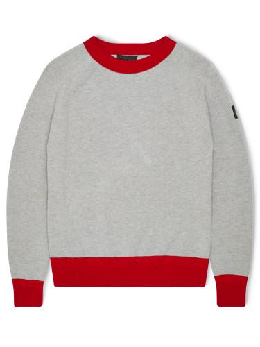 Belstaff - Kingsmere Crewneck - -ú295 - Pale Grey Melange Bright Racing Red 71130378 K61D0015 09515.jpg