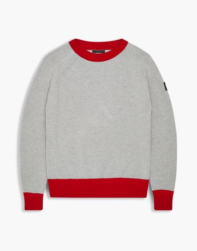 Belstaff - Kingsmere Sweater - £295 - Pale Grey Melange Bright Racing Red - 71130378 K61D0015 09515.jpg