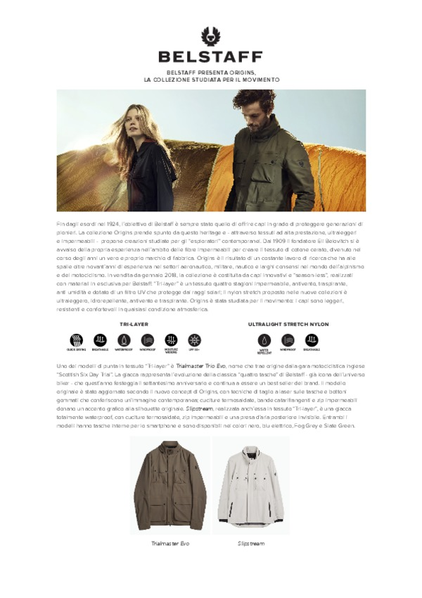 Belstaff Launches Origins - Italian-pdf